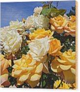 Rose Garden Art Prints Yellow Orange Rose Flowers Wood Print