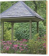 Rose Garden Gazebo Wood Print