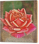 Rose Greeting Card With Verse Wood Print