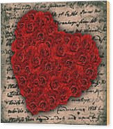 Rose Heart And Letter Wood Print
