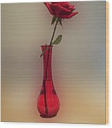 Rose In A Vase Wood Print by Thomas Woolworth