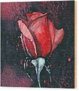 Rose In Flames Wood Print