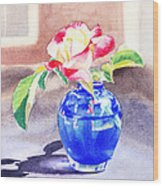 Rose In The Blue Vase  Wood Print