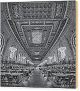 Rose Main Reading Room At The Nypl Bw Wood Print