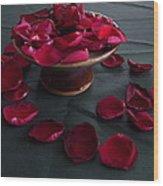 Rose Petals And Pottery Wood Print