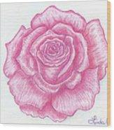 Rose Sketch  Wood Print