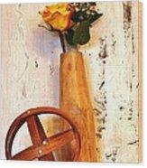 Rose Sphere And Mango Wood Vase Wood Print