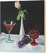 Rose Wine And Fruit Wood Print