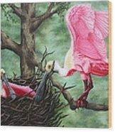 Roseate Spoonbill Nesters  Wood Print