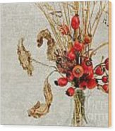 Rosehips And Grasses Wood Print