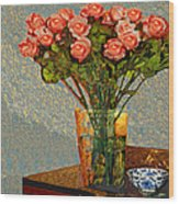 Roses And A Chinese Bowl Wood Print