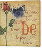 Roses And Butterflies 1 Wood Print