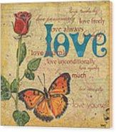 Roses And Butterflies 2 Wood Print by Debbie DeWitt