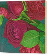 Roses And Carnations Wood Print