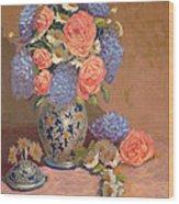 Roses And Daisies I Wood Print