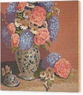 Roses And Daisies II Wood Print