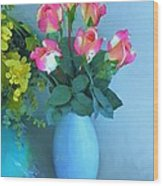 Roses And Flowers In A Vase Wood Print