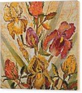 Roses And Irises Wood Print