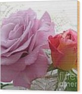 Roses And Lace Wood Print