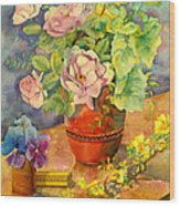 Roses And Pansies Wood Print by Julia Rowntree