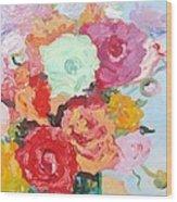 Roses And Ranunculus 2011 Wood Print