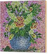 Roses And White Lilacs Lacy Bouquet Digital Painting Wood Print