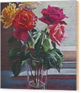 Roses By The Window Wood Print