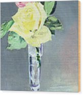 Roses In A Champagne Glass Wood Print