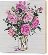 Roses In A Glass Jar  Wood Print