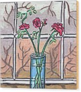 Roses In A Glass Vase Wood Print