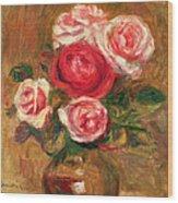 Roses In A Pot Wood Print by Pierre Auguste Renoir