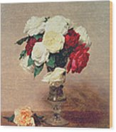 Roses In A Vase With Stem Wood Print