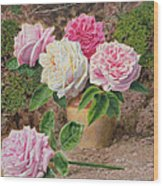 Roses In An Earthenware Vase By A Mossy Wood Print