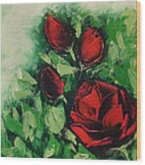 Roses In The Hedge Wood Print
