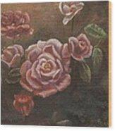 Roses In The Sun Wood Print by Elizabeth Lane