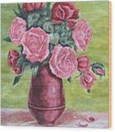 Roses In Vase Wood Print