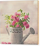 Roses In Watering Can Wood Print