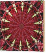 Roses Kaleidoscope Under Glass 11 Wood Print