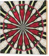 Roses Kaleidoscope Under Glass 17 Wood Print
