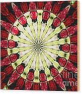 Roses Kaleidoscope Under Glass 23 Wood Print