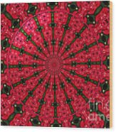 Roses Kaleidoscope Under Glass 24 Wood Print