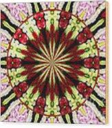 Roses Kaleidoscope Under Glass 25 Wood Print