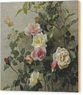 Roses On A Wall Wood Print