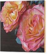 Roses On Dark Background Wood Print