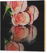 Roses On Glass Wood Print