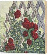 Roses On Lattice Wood Print