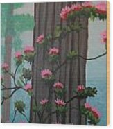 Roses On Misty Day Wood Print