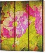Roses On Wood Wood Print