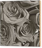 Roses On Your Wall Sepia Wood Print