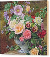 Roses Pansies And Other Flowers In A Vase Wood Print